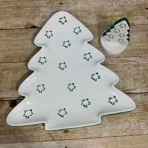 Christmas tree plate and cookie press by Dept 56